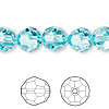 Bead, Swarovski crystal, Crystal Passions®, light turquoise, 10mm faceted round (5000). Sold per pkg of 24.