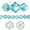 Bead, Swarovski crystal, Crystal Passions®, light turquoise, 6mm Xilion bicone (5328). Sold per pkg of 24.