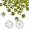 Bead, Swarovski crystal, Crystal Passions®, olivine, 6mm Xilion bicone (5328). Sold per pkg of 144 (1 gross).