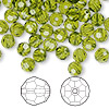 Bead, Swarovski crystal, Crystal Passions®, olivine, 6mm faceted round (5000). Sold per pkg of 144 (1 gross).