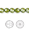 Bead, Swarovski crystal, Crystal Passions®, olivine, 8mm faceted round (5000). Sold per pkg of 12.