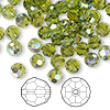 Bead, Swarovski crystal, Crystal Passions®, olivine AB, 6mm faceted round (5000). Sold per pkg of 144 (1 gross).