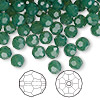 Bead, Swarovski crystal, Crystal Passions®, palace green opal, 6mm faceted round (5000). Sold per pkg of 144 (1 gross).
