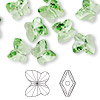 Bead, Swarovski crystal, Crystal Passions®, peridot, 10x9mm faceted butterfly (5754). Sold per pkg of 48.
