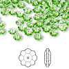 Bead, Swarovski crystal, Crystal Passions®, peridot, 6x2mm faceted marguerite lochrose flower (3700). Sold per pkg of 144 (1 gross).