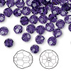 Bead, Swarovski crystal, Crystal Passions®, purple velvet, 6mm faceted round (5000). Sold per pkg of 144 (1 gross).