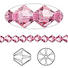 Bead, Swarovski crystal, Crystal Passions®, rose, 5mm Xilion bicone (5328). Sold per pkg of 144 (1 gross).