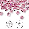 Bead, Swarovski crystal, Crystal Passions®, rose, 6mm Xilion bicone (5328). Sold per pkg of 24.