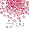 Bead, Swarovski crystal, Crystal Passions®, rose AB, 4mm faceted round (5000). Sold per pkg of 144 (1 gross).