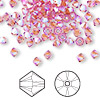 Bead, Swarovski crystal, Crystal Passions®, rose AB2X, 4mm Xilion bicone (5328). Sold per pkg of 144 (1 gross).