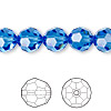Bead, Swarovski crystal, Crystal Passions®, sapphire, 10mm faceted round (5000). Sold per pkg of 24.