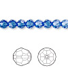 Bead, Swarovski crystal, Crystal Passions®, sapphire, 6mm faceted round (5000). Sold per pkg of 12.