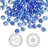 Bead, Swarovski crystal, Crystal Passions®, sapphire AB, 4mm faceted round (5000). Sold per pkg of 144 (1 gross).