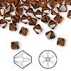 Bead, Swarovski crystal, Crystal Passions®, smoked topaz, 6mm Xilion bicone (5328). Sold per pkg of 144 (1 gross).