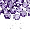 Bead, Swarovski crystal, Crystal Passions®, tanzanite, 10x3.5mm faceted marguerite lochrose flower (3700). Sold per pkg of 12.
