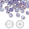 Bead, Swarovski crystal, Crystal Passions®, tanzanite AB, 6mm faceted round (5000). Sold per pkg of 12.