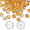Bead, Swarovski crystal, Crystal Passions®, topaz AB, 6mm faceted round (5000). Sold per pkg of 144 (1 gross).