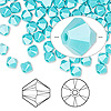 Bead, Swarovski crystal, Crystal Passions®, turquoise, 5mm Xilion bicone (5328). Sold per pkg of 24.
