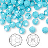 Bead, Swarovski crystal, Crystal Passions®, turquoise, 6mm faceted round (5000). Sold per pkg of 144 (1 gross).