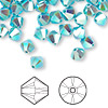 Bead, Swarovski crystal, Crystal Passions®, turquoise AB2X, 4mm Xilion bicone (5328). Sold per pkg of 48.