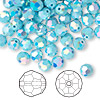 Bead, Swarovski crystal, Crystal Passions®, turquoise AB2X, 6mm faceted round (5000). Sold per pkg of 144 (1 gross).