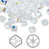 Bead, Swarovski crystal, Crystal Passions®, white opal AB, 6mm Xilion bicone (5328). Sold per pkg of 24.