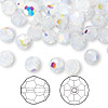 Bead, Swarovski crystal, Crystal Passions®, white opal AB, 6mm faceted round (5000). Sold per pkg of 144 (1 gross).