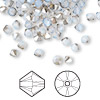 Bead, Swarovski crystal, Crystal Passions®, white opal satin, 4mm Xilion bicone (5328). Sold per pkg of 144 (1 gross).