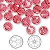 Bead, Swarovski crystal, Indian pink, 8mm faceted round (5000). Sold per pkg of 144 (1 gross).