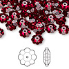 Bead, Swarovski crystal, Siam, foil back, 8x3mm faceted marguerite lochrose flower (3700). Sold per pkg of 12.