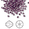 Bead, Swarovski crystal, amethyst, 3mm Xilion bicone (5328). Sold per pkg of 144 (1 gross).