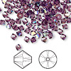 Bead, Swarovski crystal, amethyst AB, 4mm Xilion bicone (5328). Sold per pkg of 144 (1 gross).