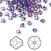 Bead, Swarovski crystal, amethyst AB2X, 4mm Xilion bicone (5328). Sold per pkg of 144 (1 gross).
