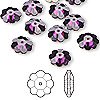 Bead, Swarovski crystal, amethyst, foil back, 10x3.5mm faceted marguerite lochrose flower (3700). Sold per pkg of 12.