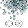 Bead, Swarovski crystal, aquamarine satin, 4mm Xilion bicone (5328). Sold per pkg of 144 (1 gross).