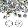 Bead, Swarovski crystal, black diamond AB, 6mm Xilion bicone (5328). Sold per pkg of 144 (1 gross).