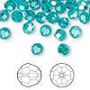 Bead, Swarovski crystal, blue zircon AB, 6mm faceted round (5000). Sold per pkg of 360.