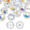 Bead, Swarovski crystal, crystal AB, 10mm faceted round (5000). Sold per pkg of 144 (1 gross).