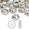 Bead, Swarovski crystal, crystal clear, foil back, 12x4mm faceted marguerite lochrose flower (3700). Sold per pkg of 144 (1 gross).