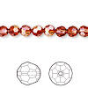 Bead, Swarovski crystal, crystal red magma, 6mm faceted round (5000). Sold per pkg of 12.