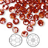 Bead, Swarovski crystal, crystal red magma, 6mm faceted round (5000). Sold per pkg of 360 (2.5 gross).