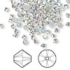Bead, Swarovski crystal, crystal satin AB, 3mm Xilion bicone (5328). Sold per pkg of 1,440 (10 gross).