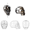 Bead, Swarovski crystal, crystal silver night, 14x13x10mm faceted skull (5750). Sold per pkg of 12.