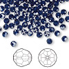 Bead, Swarovski crystal, dark indigo, 4mm faceted round (5000). Sold per pkg of 144 (1 gross).