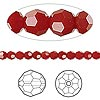 Bead, Swarovski crystal, dark red coral, 4mm faceted round (5000). Sold per pkg of 12.