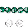 Bead, Swarovski crystal, emerald, 10mm faceted round (5000). Sold per pkg of 24.