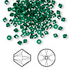 Bead, Swarovski crystal, emerald, 3mm Xilion bicone (5328). Sold per pkg of 1,440 (10 gross).
