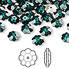 Bead, Swarovski crystal, emerald, foil back, 8x3mm faceted marguerite lochrose flower (3700). Sold per pkg of 12.