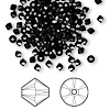 Bead, Swarovski crystal, jet, 3mm Xilion bicone (5328). Sold per pkg of 1,440 (10 gross).