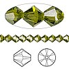 Bead, Swarovski crystal, olivine, 5mm Xilion bicone (5328). Sold per pkg of 24.